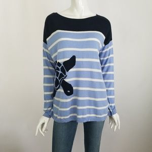 Talbots Striped Turtle Sweater